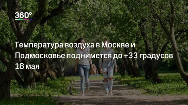 Температура воздуха в Москве и Подмосковье поднимется до +33 градусов 18 мая