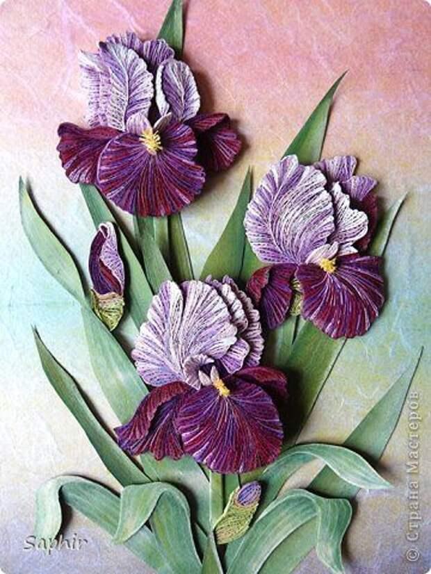 Картина панно рисунок 8 марта Квиллинг КАСАТИКИ Бумага Бумажные полосы фото 1