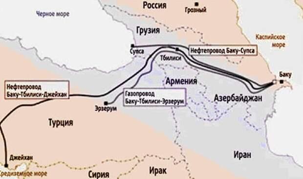 карта нефтепроводов и газопровода из Азербайджана в обход России