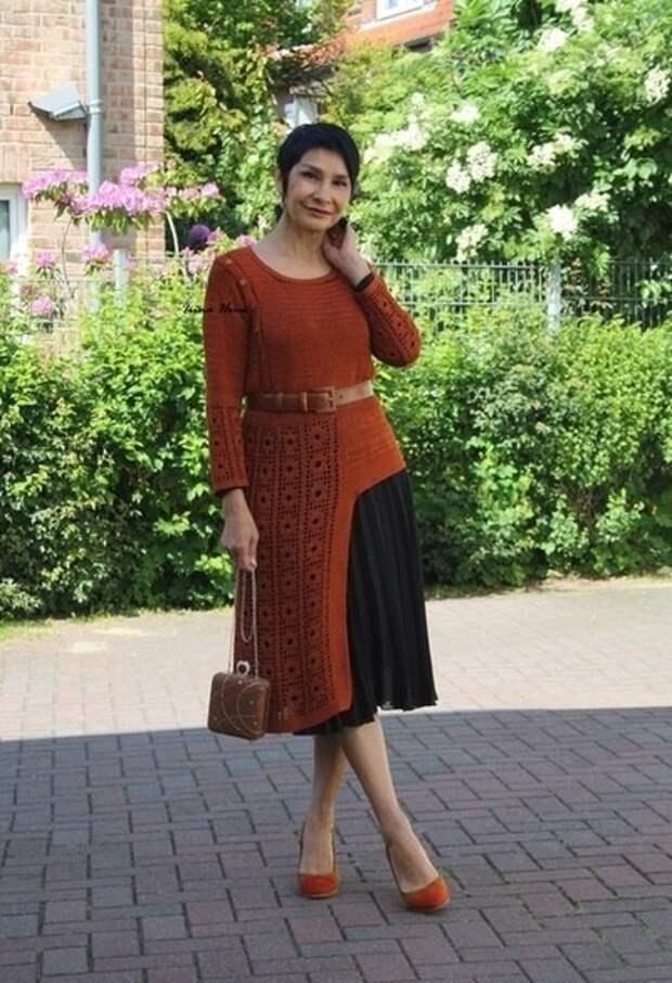 Асимметричное вязаное платье как связать