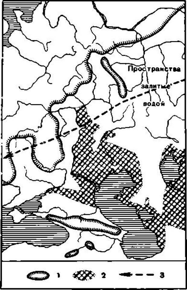 Рис. 2. Трансгрессия Каспийского моря и граница рисского оледенения. 1 — ледяной покров; 2 — трансгрессия Каспийского и Аральского морей; 3 — предполагаемый путь распространения «восточной ашельской» культуры