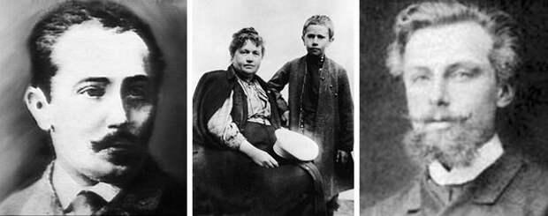 Слева направо: отец Алексея Толстого Н.А. Толстой; Алексей Толстой с матерью в отрочестве; отчим А. А. Бостром