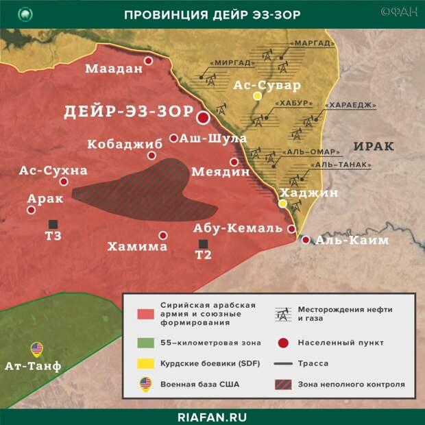 Карта военных действий в Дейр-эз-Зоре