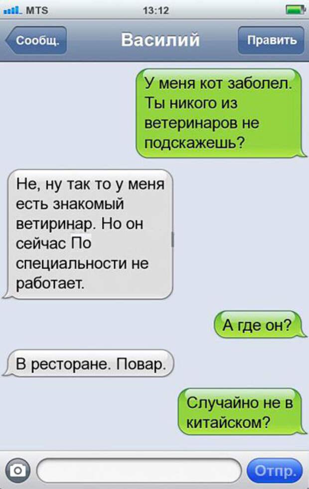 Забавные СМС от владельцев домашних животных)