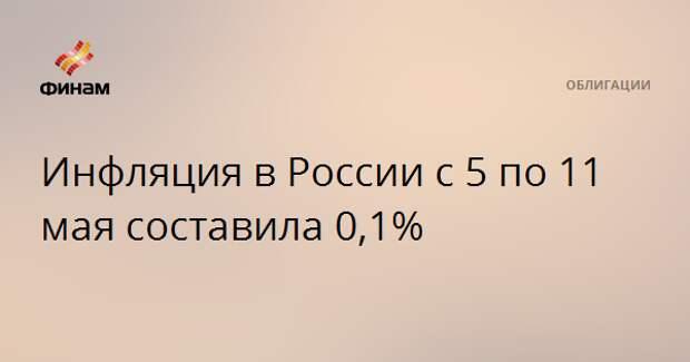 Инфляция в России с 5 по 11 мая составила 0,1%