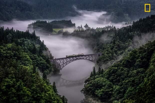 Железная дорога Тадами между Фукусимой и Ниигату, Япония national geographic, дикая природа, лучшие фотографии, фотографии природы, фотоконкурс, фотоконкурсы. природа