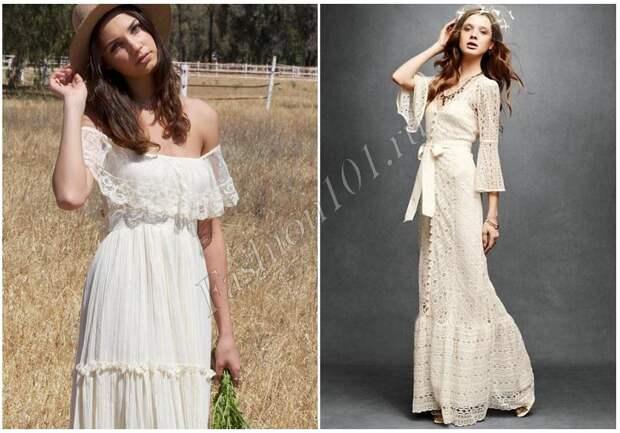 длинное платье с воланами