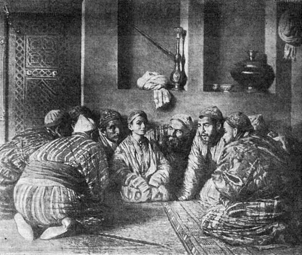 """В.В. Верещагин """"Батча и его поклонники"""", 1868 год."""