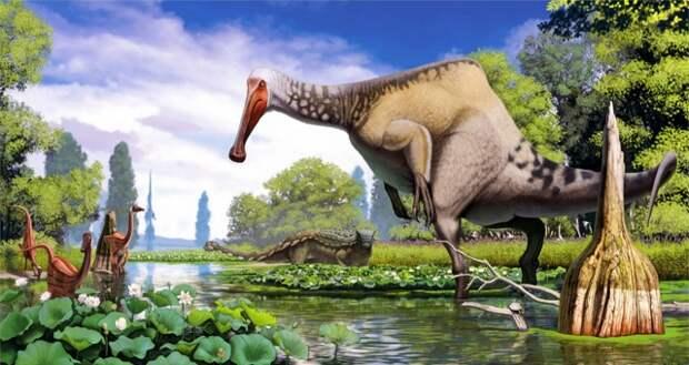 Рис. 7. Дейнохейрус (Deinocheirus mirificus), рост 3-4 м