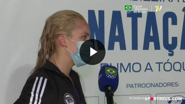 Giovanna Diamante fala sobre não ter conseguido o índice olímpico nos 100m Borboleta Feminino - Pré-Olímpico de Natação (19/04/2021)