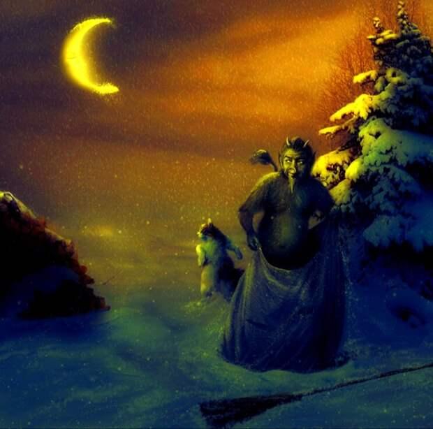 """Как тут не вспомнить несравненного Николая Васильевича Гоголя и его """"Ночь перед Рождеством""""? Фото с сайта demiart.ru, обработано автором"""
