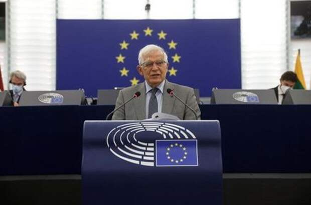 Josep Borrell, vice president of the European commission in charge of coordinating the external action of the European Union, delivers a speech at the European Parliament, in Strasbourg, France, June 8, 2021. Jean-Francois Badias/Pool via REUTERS
