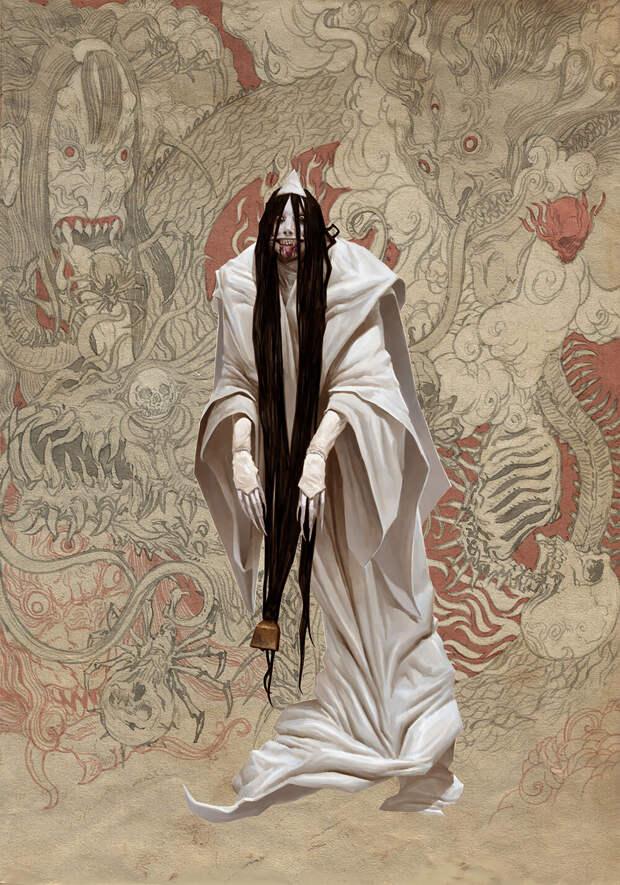 Японская мифология в темных фантазиях художника Эдриана Смита