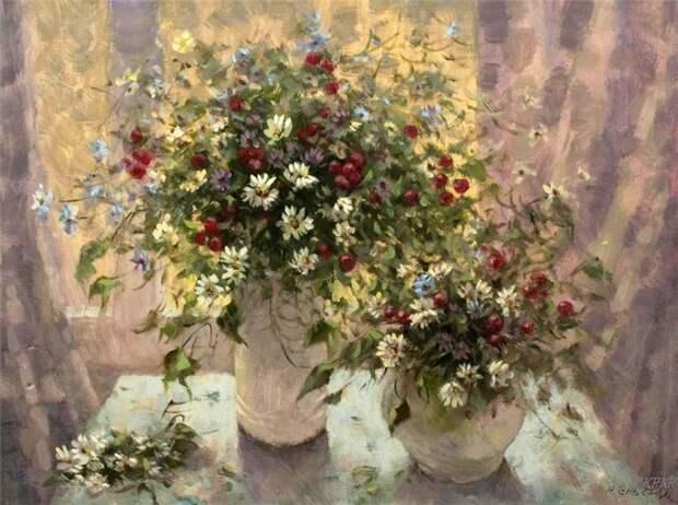 Яркие краски, аромат лета и цветущих лугов - очаровательные натюрморты Александра Еня