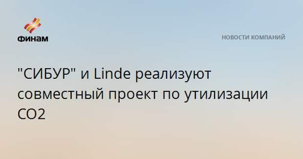"""СИБУР"" и Linde реализуют совместный проект по утилизации СО2"