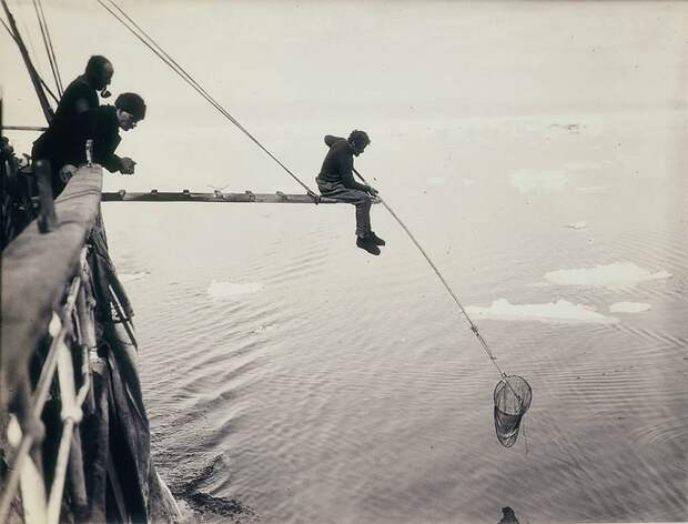 """Ловля планктона с корабля """"Аврора"""", 1912 год Австралийская антарктическая экспедиция, антарктида, исследование, мир, путешествие, фотография, экспедиция"""
