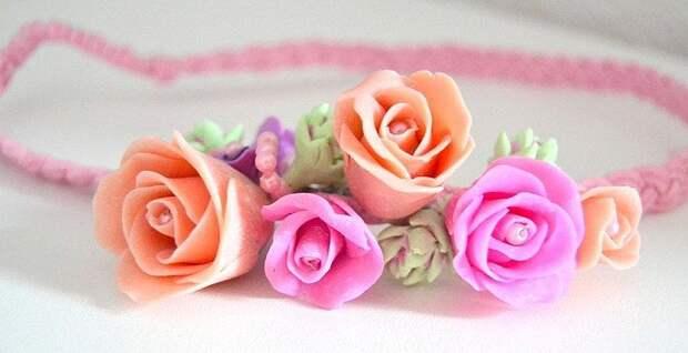Ободки из полимерной глины с бутонами розм - мастер-класс