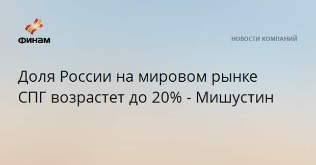 Доля России на мировом рынке СПГ возрастет до 20% - Мишустин