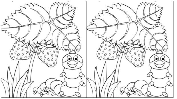 Тест на внимательность: найдите за одну минуту 3 отличия на картинке с веселой гусеницей и клубникой