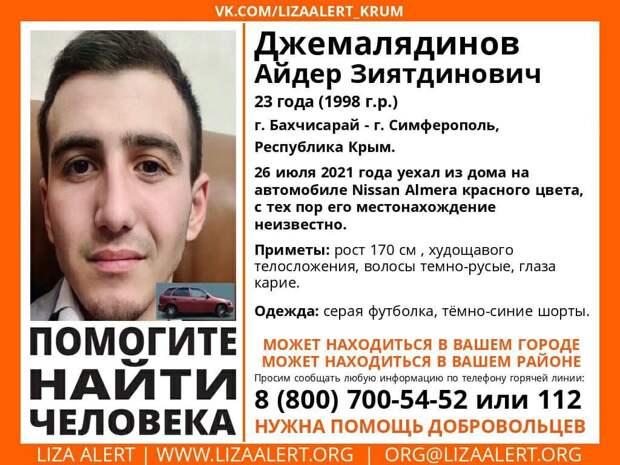 В Крыму без вести пропал 23-летний парень