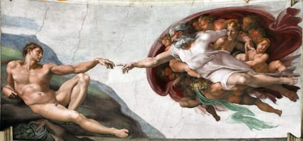 Микеланджело «Сотворение Адама» 1511Находится в Сикстинской капелле в Ватикане.