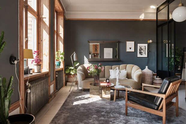 Скандинавия, которая удивляет: необычная однокомнатная квартира в Стокгольме