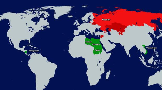 Современные базы России (выделены красным) и строящиеся либо в планах (зелёным)