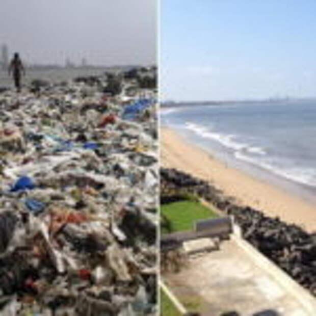 В Индии люди очистили пляж от 5 тысяч тонн отходов