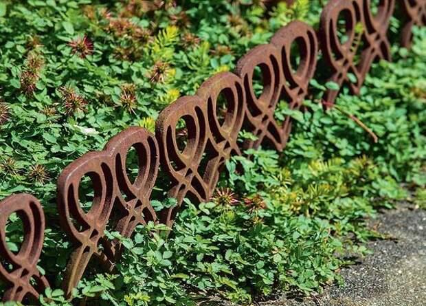Кованые элементы способствуют созданию романтического антуража. Они украшают посадку и вместе с тем отделяют ее от прилегающей территории. Бонус такой ограды - ее при необходимости можно переставить.