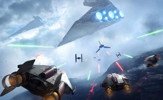 Космическое сражение в компьютерной игре Star Wars Battlefront II / Фото: game-fresh.com