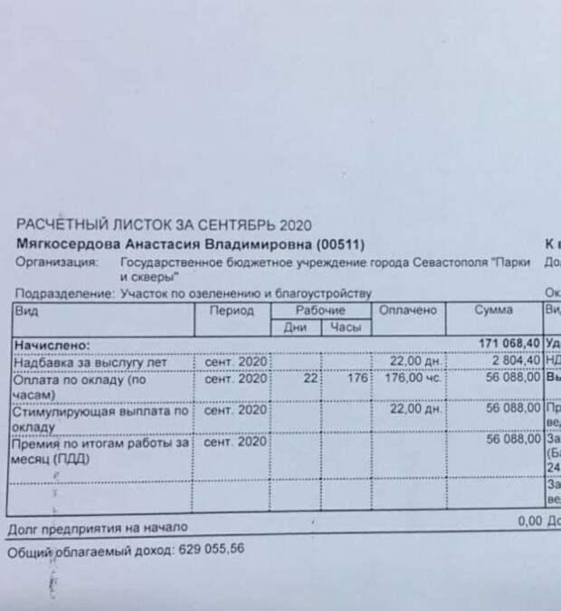 Сотрудница «Парков и скверов» Севастополя получает гигантскую зарплату