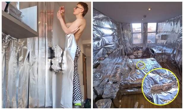 Блестящая шутка: студент покрыл всю комнату соседки фольгой, включая стены, пол и ее вибратор