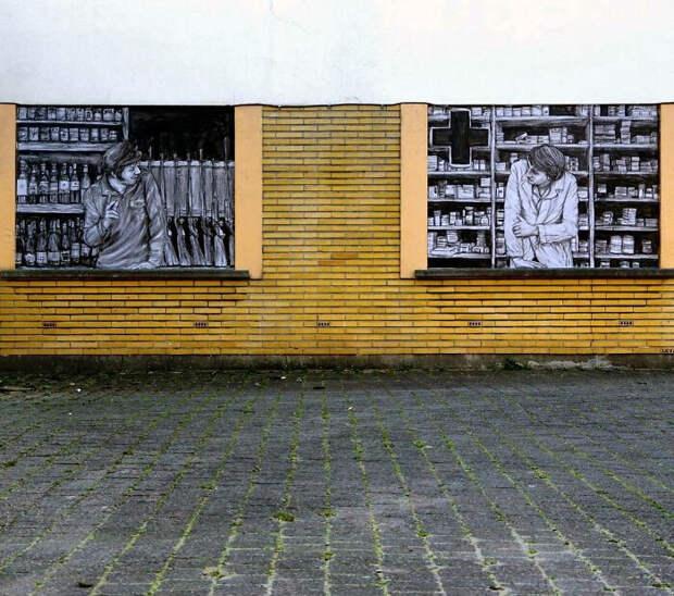 Уличное искусство художника Levalet, взаимодействующее с окружающей средой