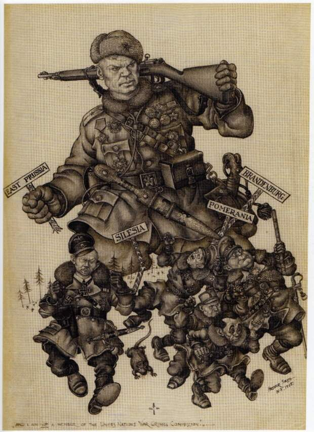 Артур Шик. Советский солдат гонит фашистов на Запад. 1945
