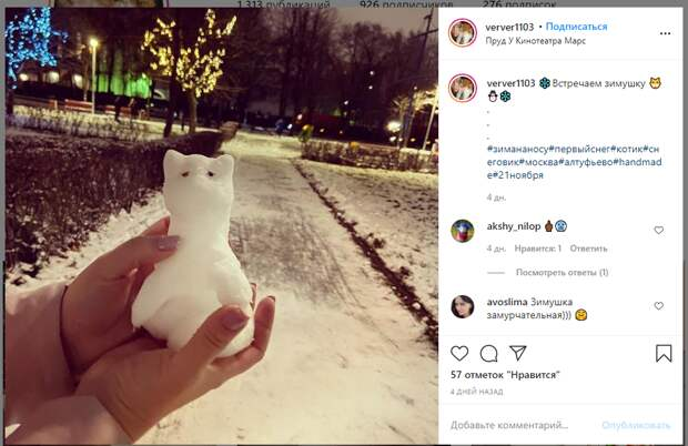 Фото дня: гостья Инженерного пруда нашла снежного ручного зверька