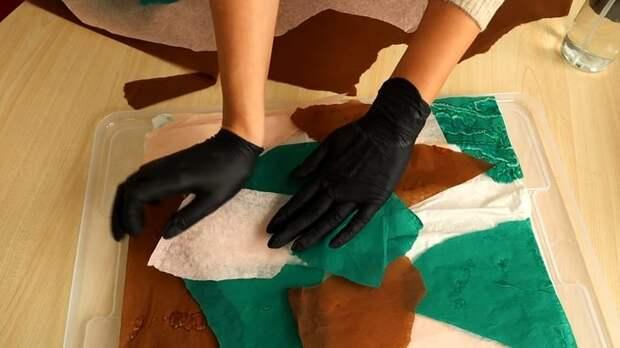 Необычный способ окрашивания, который даёт очень интересный эффект на натуральных тканях