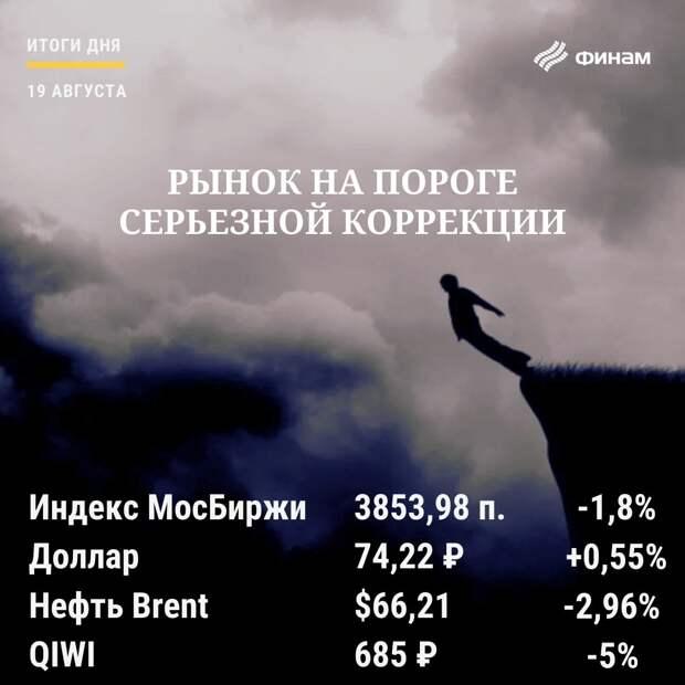 Итоги четверга, 19 августа: Рынок РФ обвалился вслед за нефтью и зарубежными площадками
