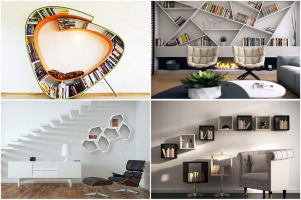 Необычные полки – идеальный  предмет мебели для создания оригинального интерьера.