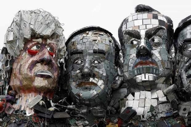 Мусорные головы: портреты лидеров G7 из хлама