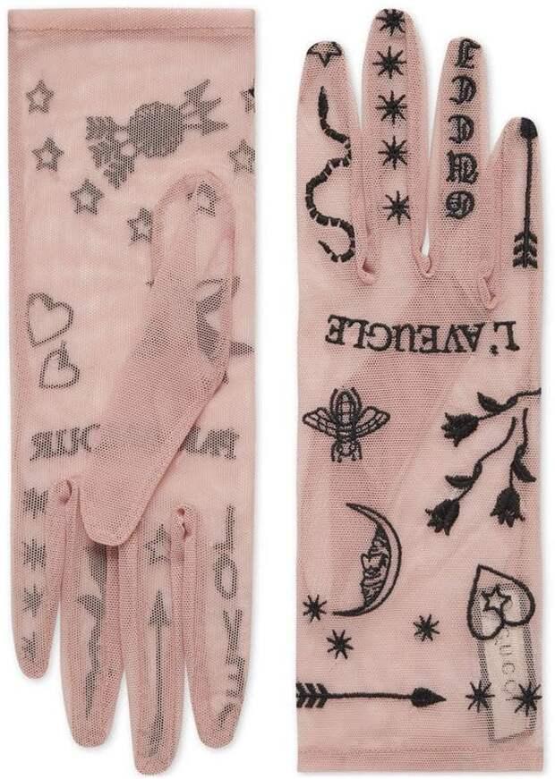 вышивка а-ля тату на нежных фатиновых перчатках