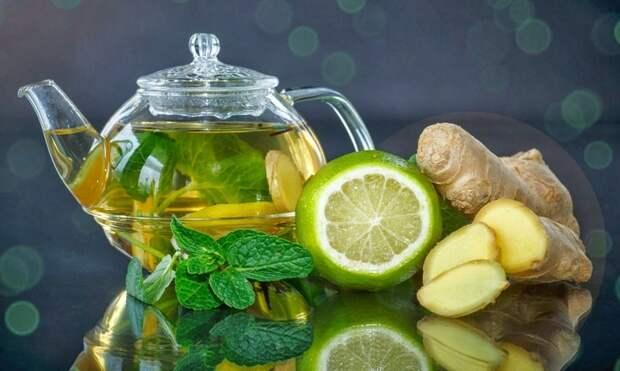 Мята и имбирь в лимонной воде