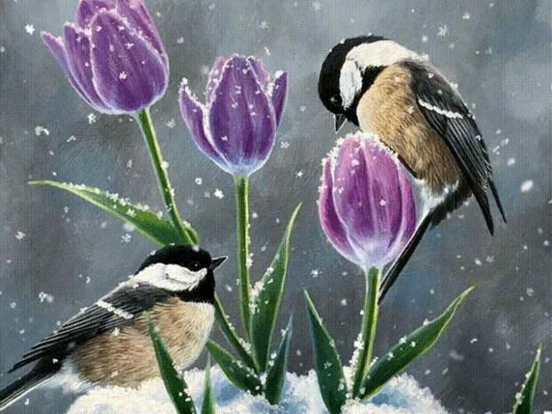 А зима, еще в белом наряде...