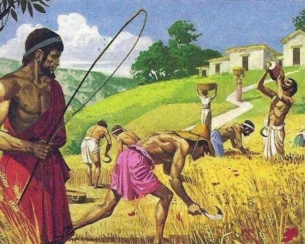 Сельскохозяйственные рабы. Современная иллюстрация.