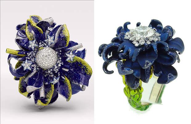 Экстравагантные кольца с цветочными мотивами.