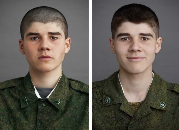 Портреты солдат до и после армии