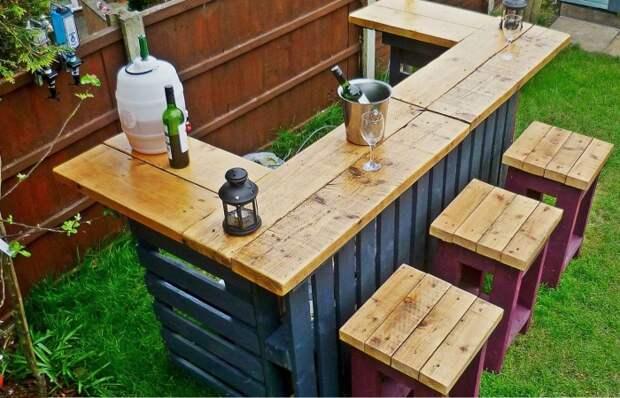 Барная стойка из деревянных поддонов, которая будет радовать не только хозяев, но и гостей.