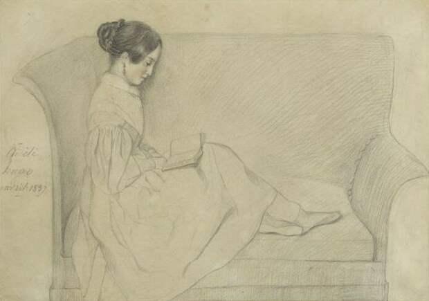 Фото: kulturologia.ru Леопольдина за чтением. Рисунок старшей сестры, сделанный рукой Адель Гюго