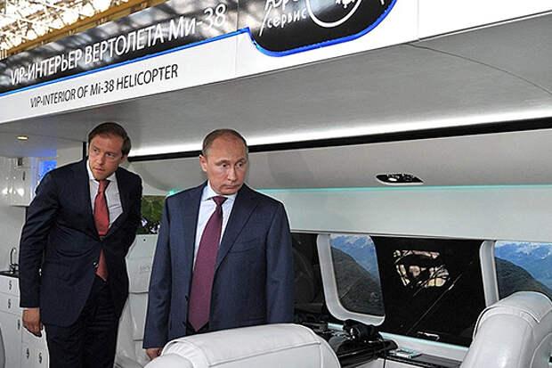 Сегодня передают всего лишь один гражданский борт Ми-38 в VIP-варианте. Ходят слухи, что это «салон» для министра промышленности и торговли РФ Дениса Мантурова (слева)