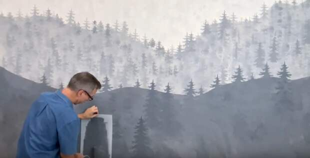 Мужчина с помощью простой краски и трафарета преобразил свою скучную комнату