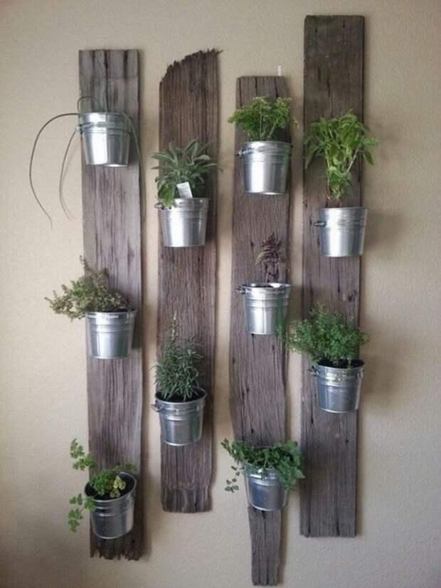 Хороший вариант создать отличное настроение благодаря созданию такого классного мини-сада, который расположен на стене.